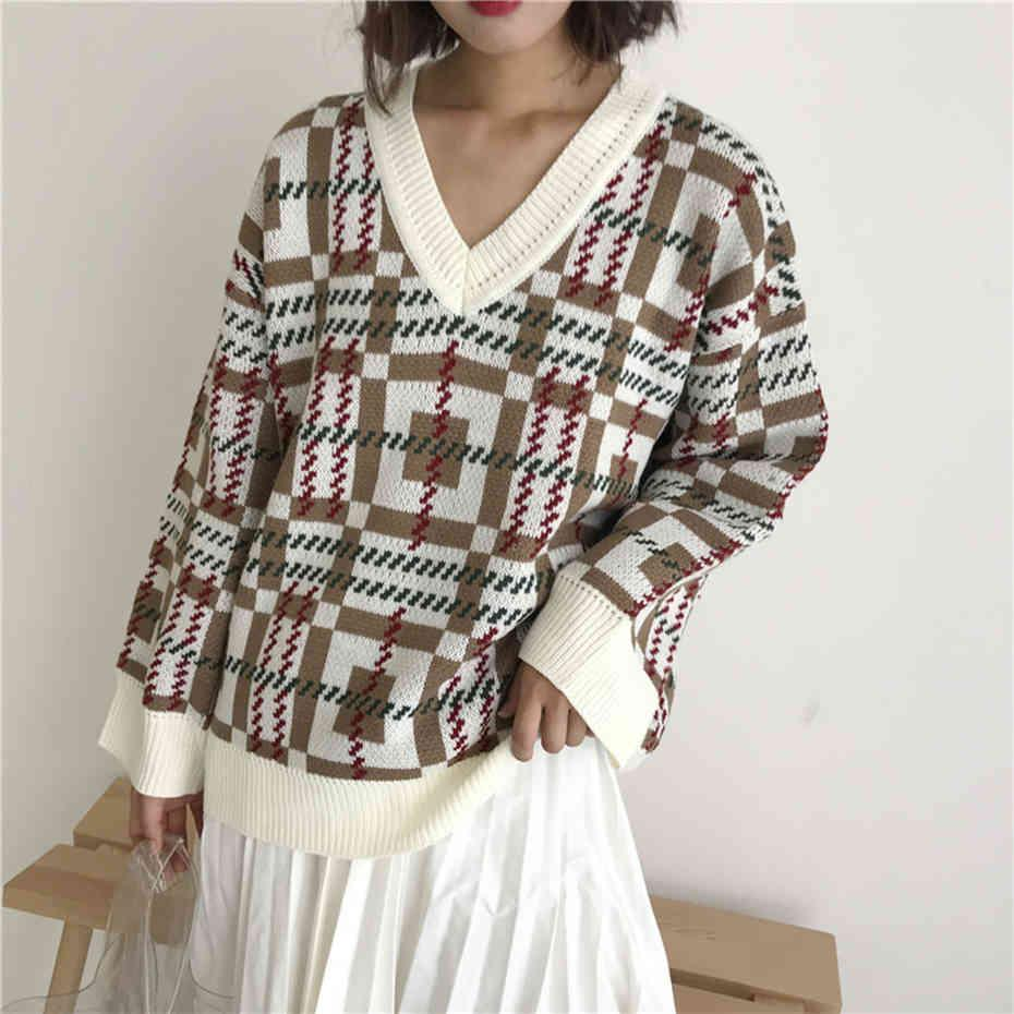 Vintage Autumn Winter New Prep Pullovers Sweater V-neck Long Sleeve Plaid Ramble Thick Loose Casual Warm Knitwear Tops Female 210412