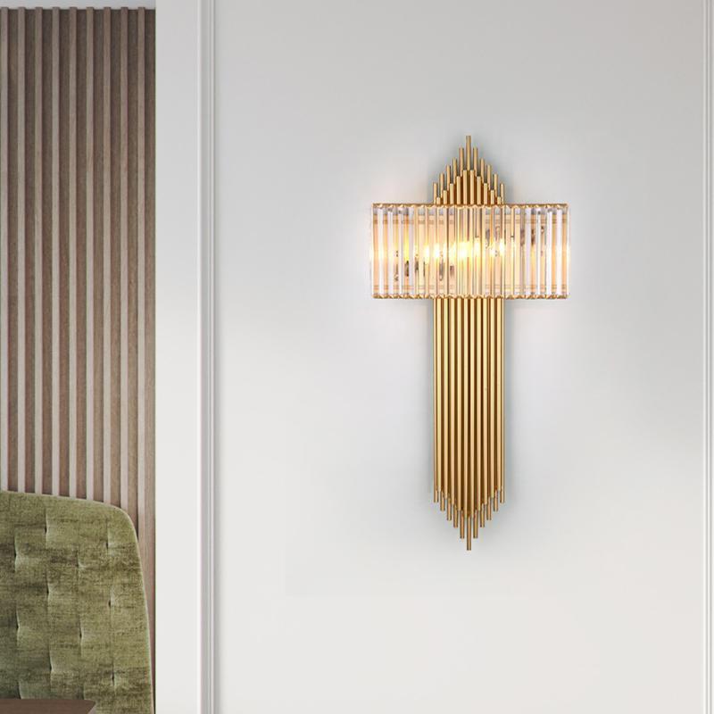 Lâmpada de parede Luz pós-moderna Luxo Cristal Hong Kong Estilo Sala de Living Quarto Bedside Corredor Entrada