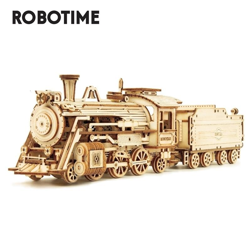 Robotime Rokr DIY Laser Cutting Movable Steam Train Wooden Model Building Kits Assembly Toy Gift for Children Adult MC501 Q1119