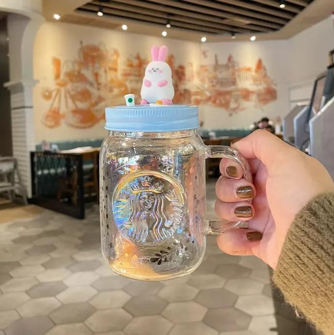 آخر 16 أوقية ستاربكس الزجاج القدح القهوة الزجاجية، القمر لطيف فتاة القلب الأرنب ماسون نمط المياه كوب، معبأة في صندوق منفصل