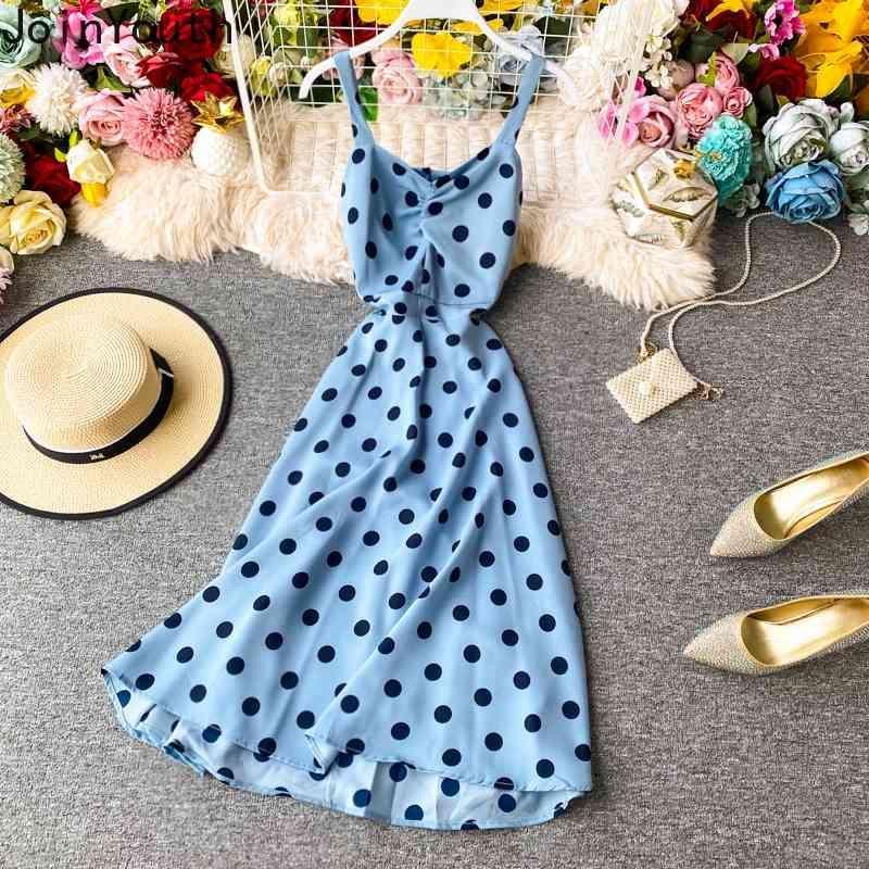 Único Moda sexy moda moda nueva ropa vintage sin respaldo grande columpio sling vestidos v-cuello lunar lunares vestidos de gasa 7A081 210423