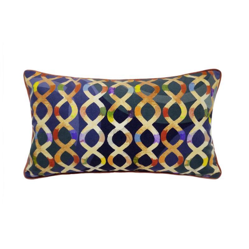 Cuscino / cuscino decorativo Fashion colorato stampa digitale stampa lombare linee cross line custodia supporto 30 x 50 cm velluto pipping home decor