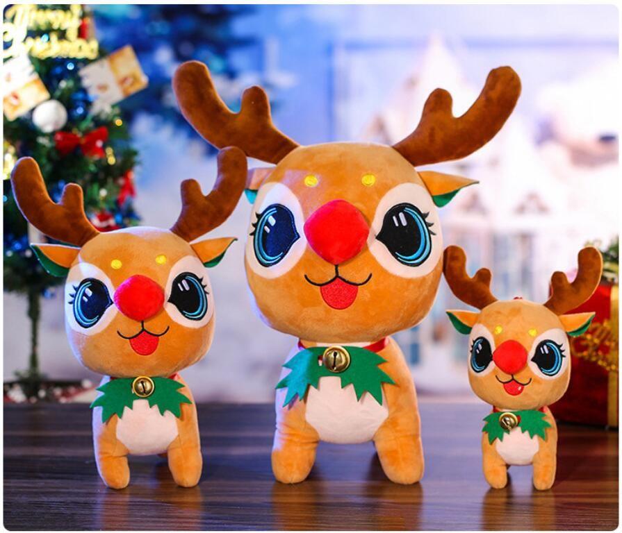 Çan ile Yüksek Kalite Peluş Elk Oyuncak Noel Geyik Bebek Bebekler Çocuklar Hediyeler Veren Sevimli Noel Süslemeleri
