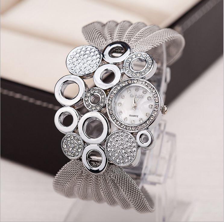 BAOHE Brand Brand Personalizzato Abbigliamento Abbigliamento Accessori Silver Guardes Wide Mesh Braccialetto Ladies Guarda orologio da polso da donna