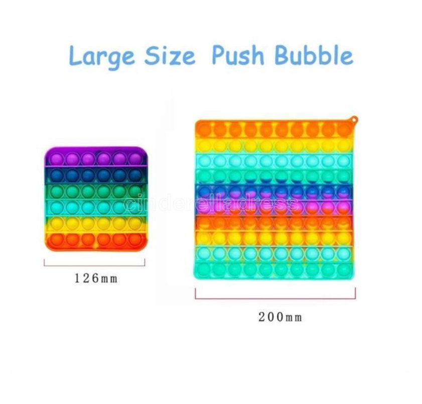 Tamanho Grande 20cm grande arco-íris empurrar Bubble Fidget Brinquedos Sensory Sensory Reliever Toy Kids presentes entrega rápida CJ30