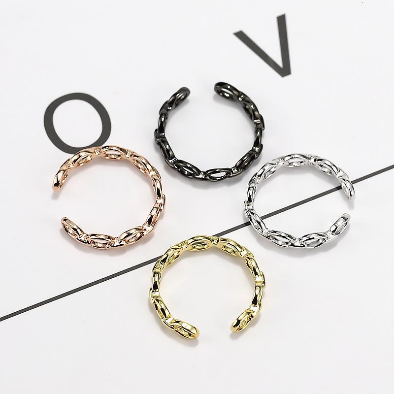 Ring Sterling Qiaolanxuan Imitation Sier Schmuck, Öffnen von Farbe Gold, Multi BLA, Kette Damen Stil