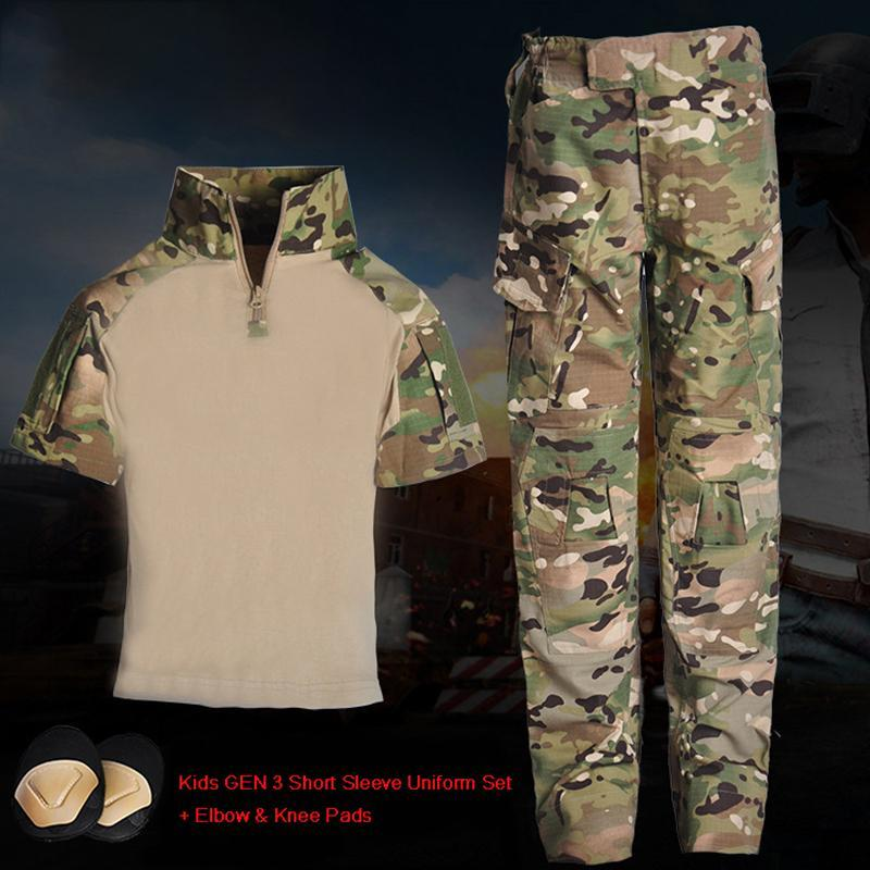 Gym Clothing Tactical Kids Short Sleeve GEN3 Uniform Children BDU Hunting Military Camouflage Combat Suit Jacket & Pants