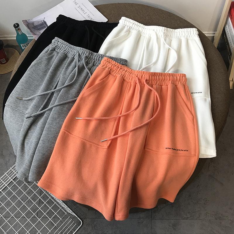 Ropa de gimnasio verano alto cintura ancha pierna pantalones cortos mujeres negro rodilla longitud cordón coreano algodón puro casual holiday holiday pantalón
