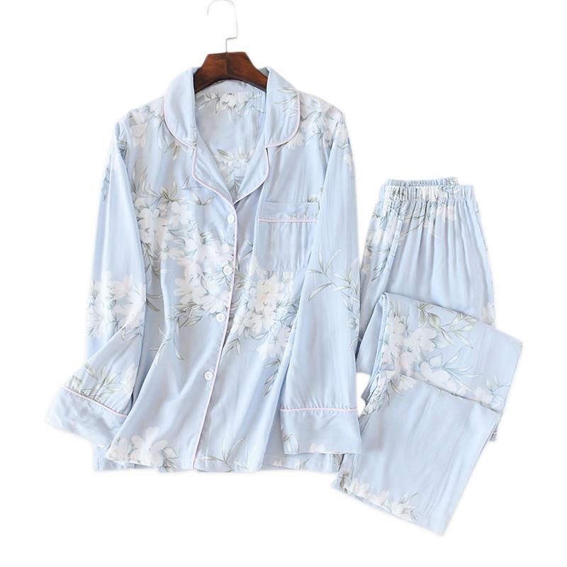 Blumenfrauen Nachtwäsche Sommer Pyjamas Sets Gemütliche Beiläufige Viskose Langarm Qualität Pyjamas Homewear Sale