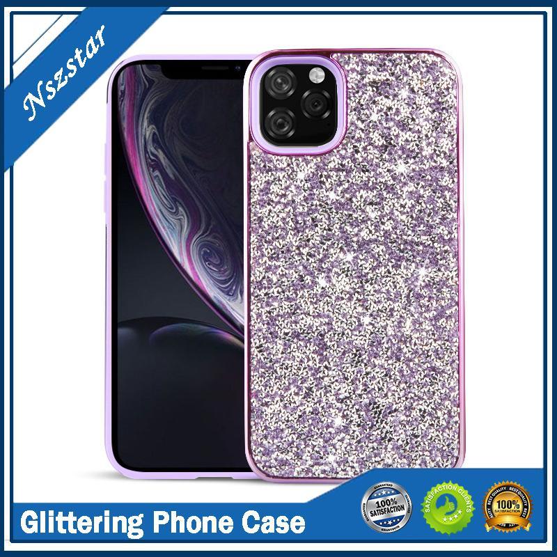 Glitter Galvanik İki-in-One Elmas Android Cep Telefonu Kılıfı Rhinestone Bling Cep Telefonu Kılıfı için iphone 12 11 XR X XS Max 7