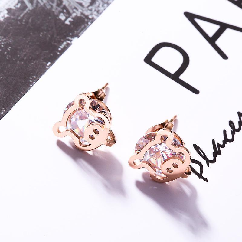 Stud Fashion Jewelry Accessories, Cartoon Pig Set Zircon Titanium Steel Earrings, Rose Gold Allergy Earrings Wholesale