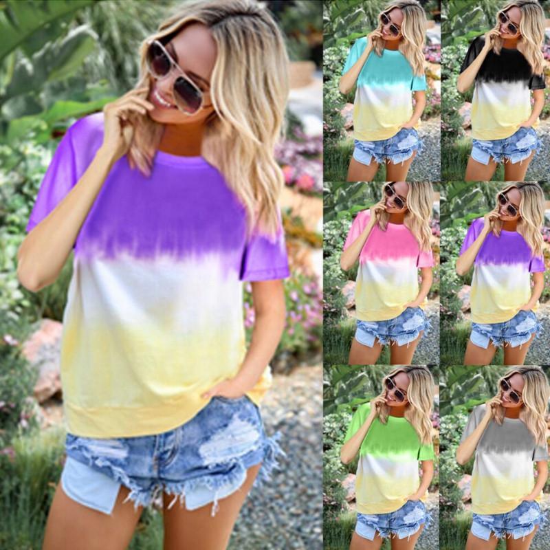 2021 Design Rainbow sweatshirt Gradient Ladies Short Sleeve Round Neck Printed Factory Outlet