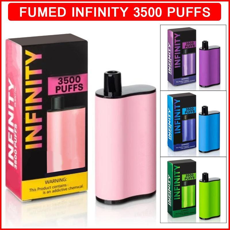 일회용 전자 담배 퓸드 인피니티 vape 15 색 3500 퍼프 1500mAh 배터리 12ml 포드 카트리지 증기 ecigarette vapes