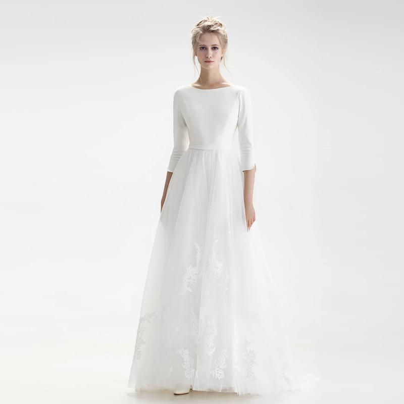 Other Wedding Dresses Simple White For Bride Solid Color With Sleeves Floor Length Sweep Train Backless Bridal Gown Vestido De Novia
