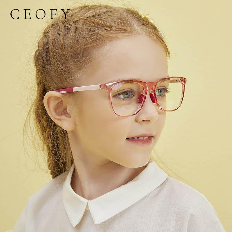 Moda Gafas de sol Marcos CEOFY EYEGLASES NIÑOS Marco Glasses-Lente transparente Retro Niños Square Glasses Vintage Myopia