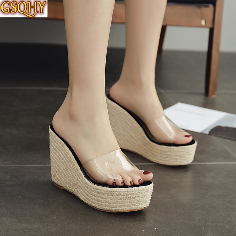 Verano PVC plataforma transparente cuñas sandalias mujeres moda tacones altos zapatos femeninos tamaño 34-40 zapatillas