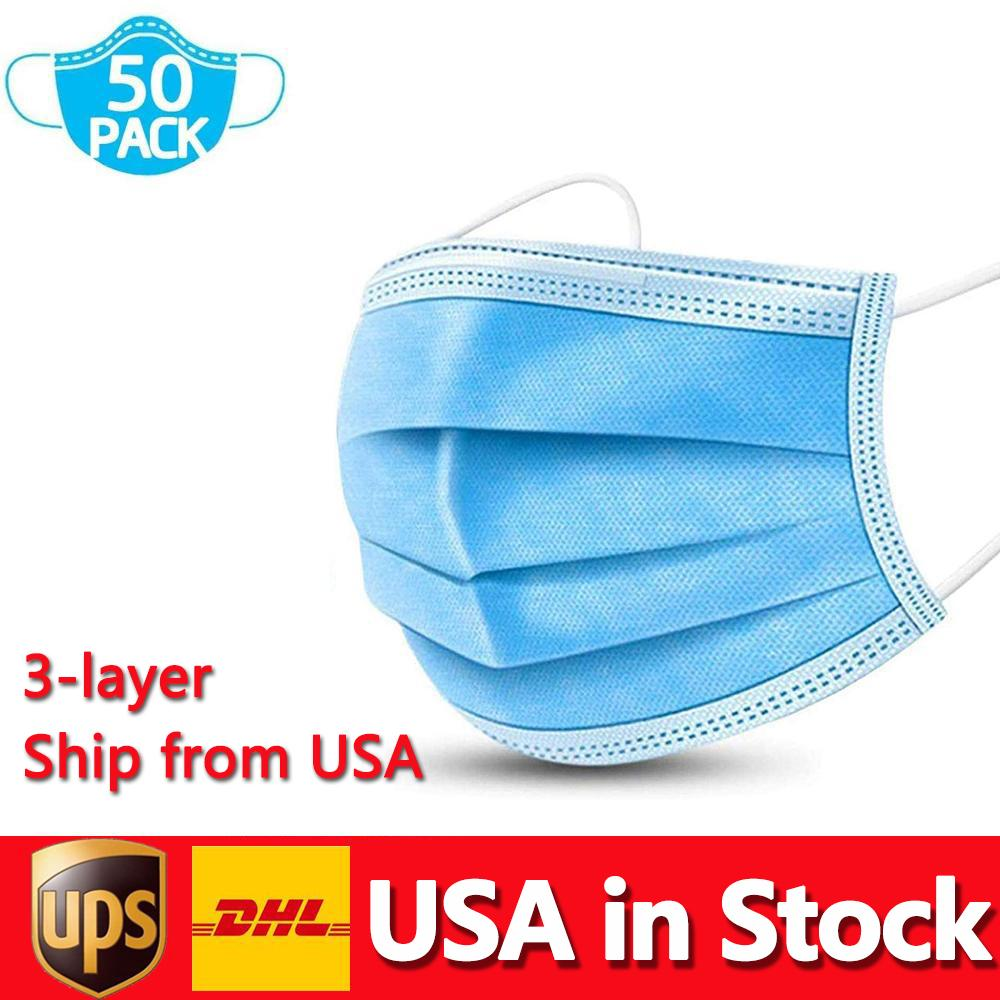 الولايات المتحدة الأمريكية في المخزون قناع يمكن التخلص منها حماية 3ply غير المنسوجة والصحة الشخصية مع الأذن الفم الوجه أقنعة الصحية