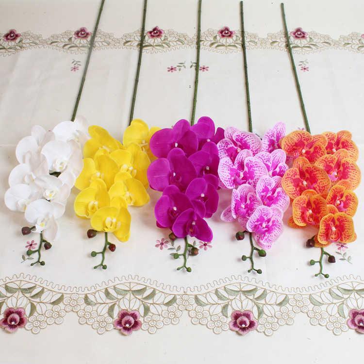Shinesasha 7 Heads 85см Искусственный фаленопсис Усовершенствованный латекс кремниевый кремний Real Touch Big Orchide Orchidee белый многоцветный свадьба T191029
