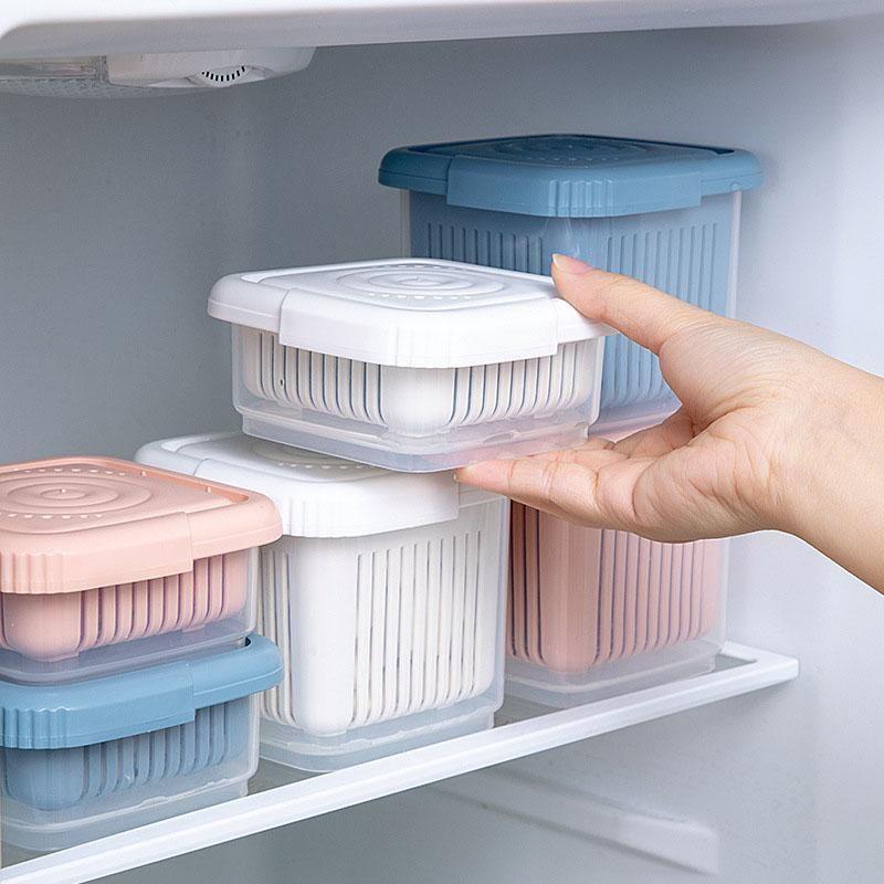 Bouteilles de stockage Boîtes à double couche Boîte d'oignon Organisateurs Conteneurs alimentaires Drain Paniers Organisateur Cuisine Épaissir Réfrigérateur