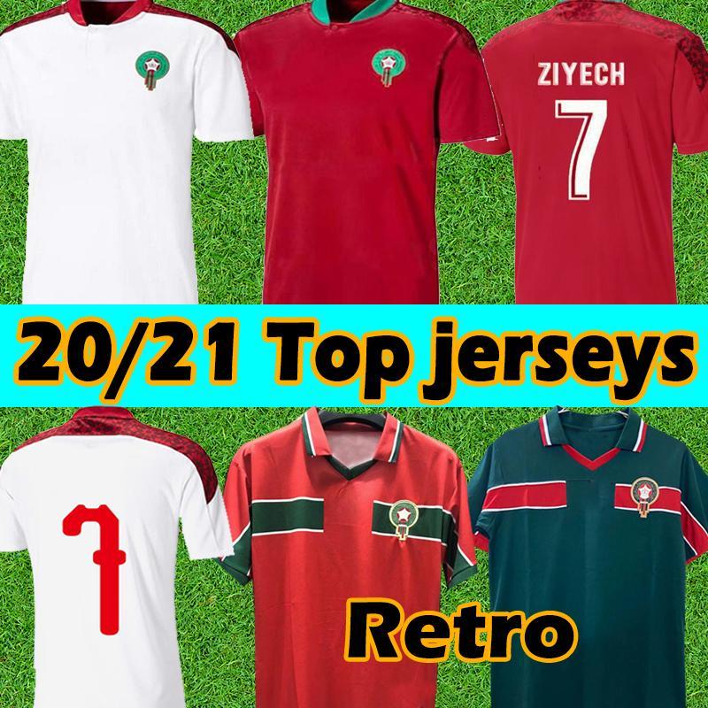 2021 Morocco soccer jerseys Retro home away 20 21 maillot de foot 1998 Ziyech Boufal FAJR Munir Ait Bennasser Amrabat football shirts