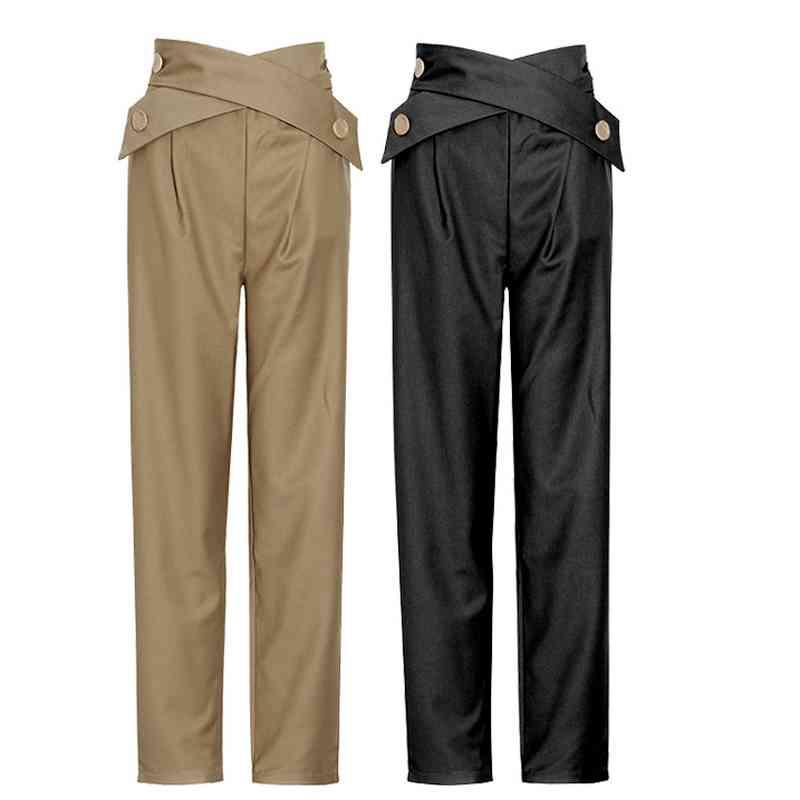 Chic Button Criss Cross Drawstring Design Pants Women High Waist Casual Harem Pants Spring Solid Simple Trousers 210524