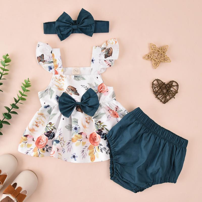 Conjuntos infantiles Traje para bebés Traje Floral Estampado de manga Bowknot Vestido Pantalones cortos + mamelucos sólidos + Trajes de pelo Ropa 2021
