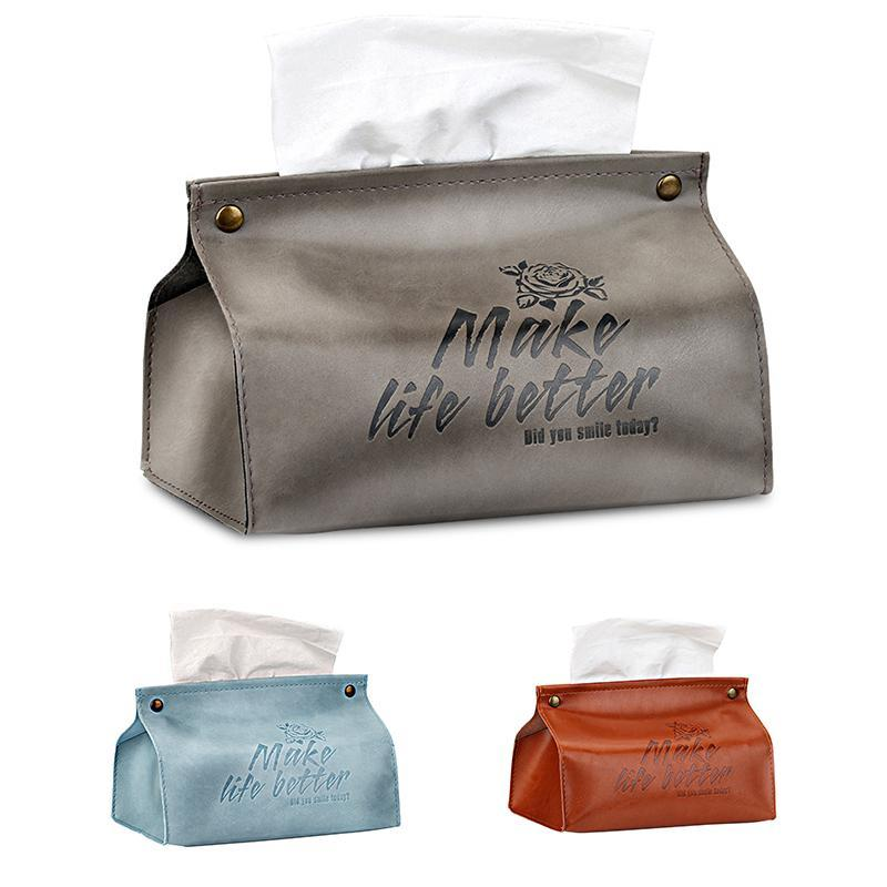 Simple Family Car Leather Tissue Case Box PU ContainerTowel Napkin Papers Boxs Holder Living Room Decoration Boxes & Napkins