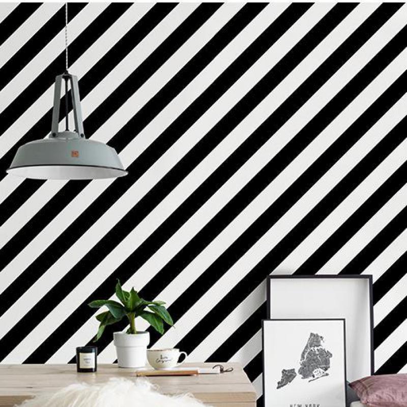 Impresión Personalidad Nórdica Blanco y negro Swill Sarga Moderna Minimalista Minimalista Sala de estar Dormitorio Ropa Tienda Tapel tapiz Fondos de pantalla