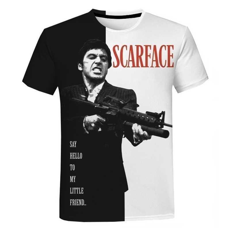 Film 3D Baskı T-shirt Erkek Kadın Yaz Moda Rahat Serin Tee Tops Tony Montana Baskı Harajuku Streetwear T Gömlek 210329