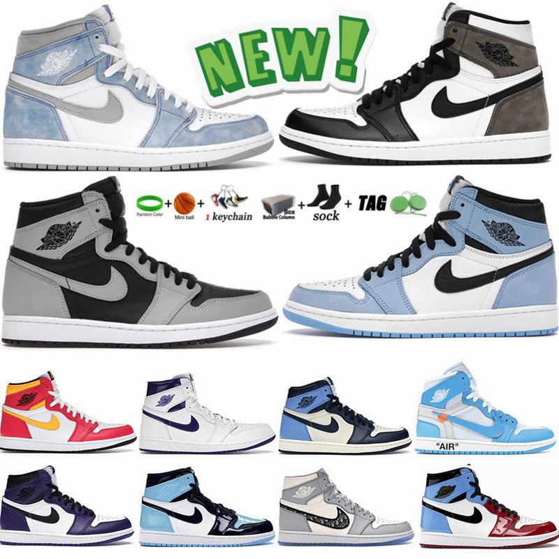 1s Light Smoke Chaussures de basket-ball baskets pour hommes Jumpman 1 High Racer Blue University Blue  Mushroom kanye Sports Sneakers Taille Chaussures 36-47