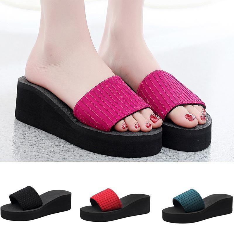 Plataforma cuñas zapatillas zapatos de verano 2021 femenino de tacón de tacón de moda playa al aire libre ocio