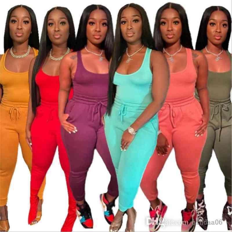 Kadın Eşofman İki Parçalı Set Koşu Takım Elbise Seksi Yelek Şort Ve Pantolon Kemer Tether Katı Renk Kıyafetleri