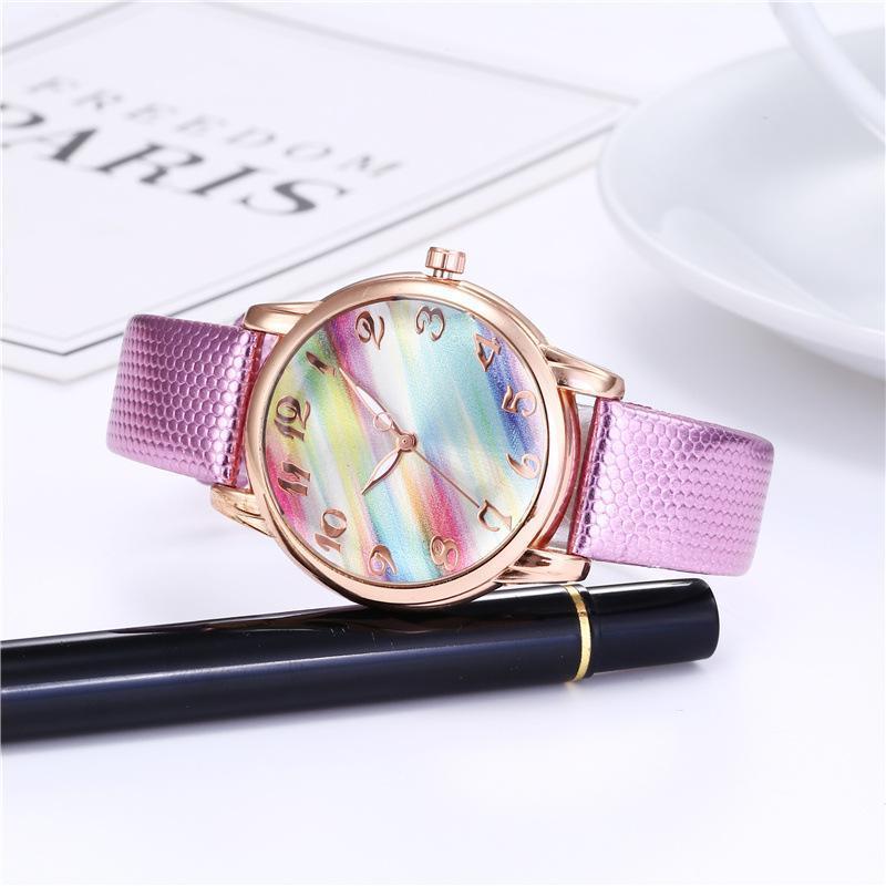Montres de bracelets Fashion Creative Rainbow Watch Dames Casual Strap en cuir de luxe Quartz 2021 Jam Tangan Bayan Saat