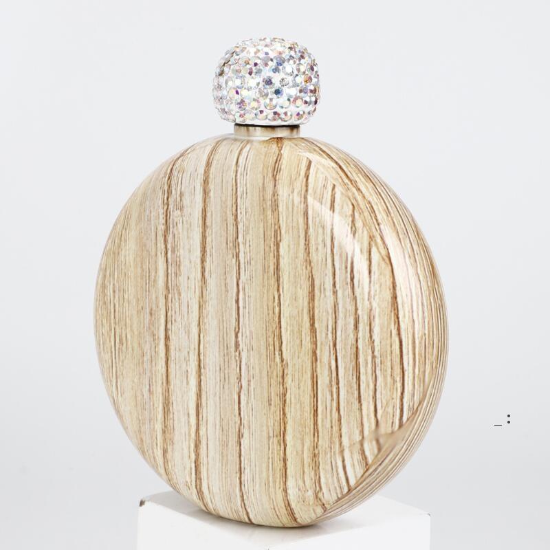 Stainless Steel Hip Flasks Diamond Round Alcohol Bottle mini Portable Jug Outdoor Wine Pot Flask BWE6529