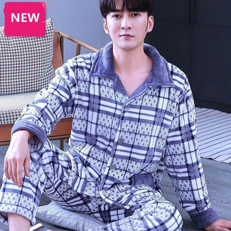Männer Pyjamas Flanell Dicke Warme Casual Pyjama Mann Stickerei Nachtwäsche Lange Hemd Hose Herren Große Größen Kpacotakowka