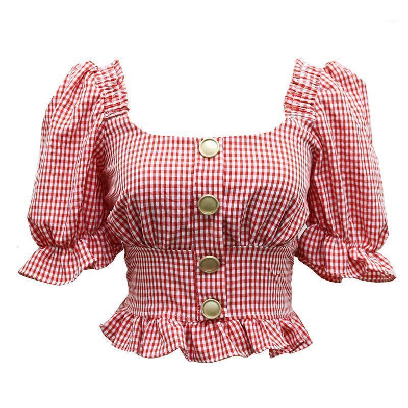 Kırpma Üst Kadın Yaz Vintage Moda Puf Kol Ekose Gömlek 2020 Seksi Ruffles Sıkı Ince Bel Tasarım Bayanlar Bluz S M L1