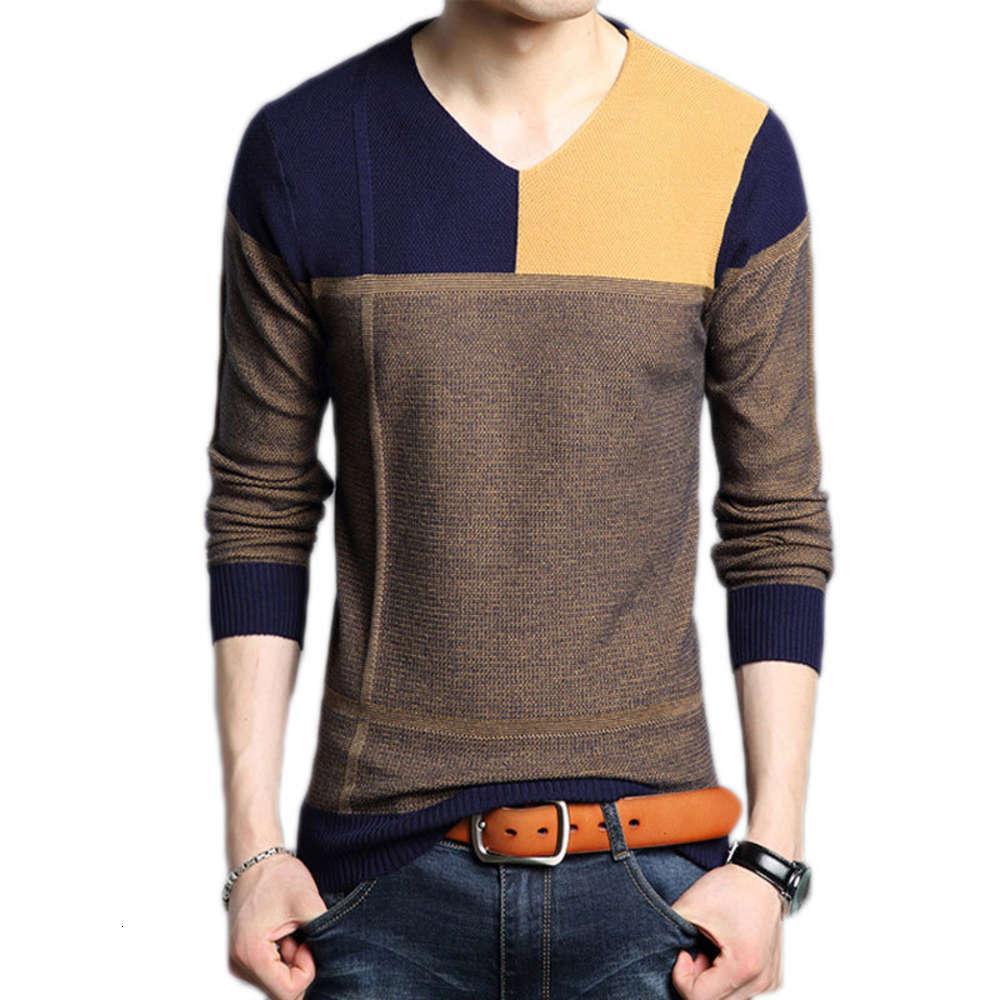 Толстовки весны и осень Корейский Slim Fit V-образным вырезом Соответствующий свитер мужской молодежной тренда цветной блок
