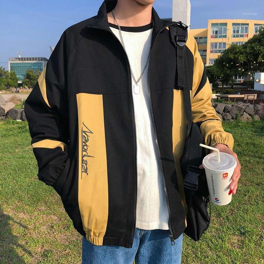 2020 봄과 가을 새로운 재킷 캐주얼 스트리트 정통 남성 느슨한 대형 고품질 인쇄 트렌치 코트 1