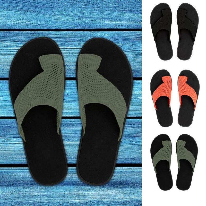 Slippers Sandals For Women Summer Casual Beach Open-Toe Shoes Set Foot Vacation Flat Flip Flops