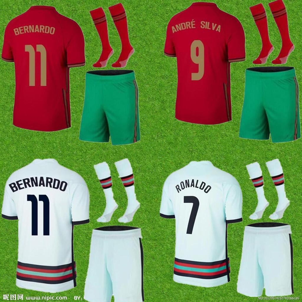 الرجال + أطقم الاطفال 2021 رونالدو لكرة القدم جيرسي جواو فيليكس كيت كامل برناردو لكرة القدم قميص شامل أندريه سيلفا موحدة مجموعات