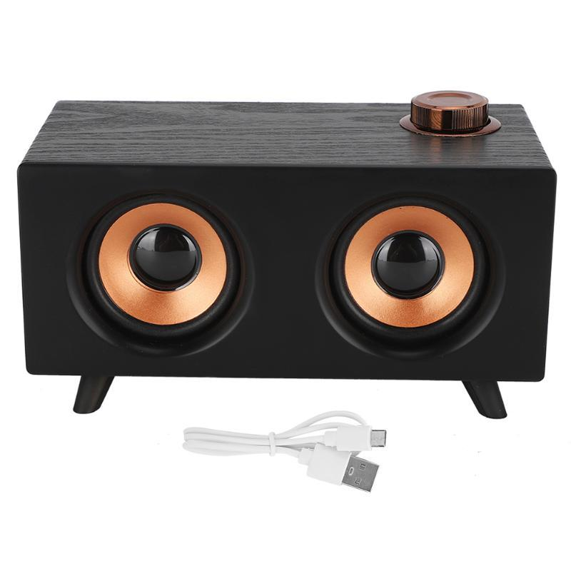 & MP4 Players FT-3008 Retro Wooden Mini Bluetooth Speaker Wireless HIFI Stereo Player For Computer Compatible With USB Memory Card AUX