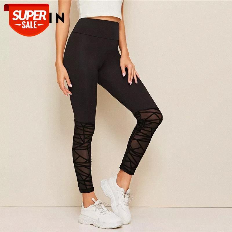 Pantolon Floklu Örgü Hem Sıska Tayt Siyah Sıkı Bayan Giyim Egzersiz Kontrast Sheer Rahat Parti # JA8V