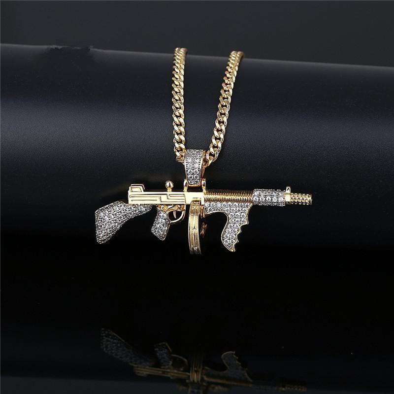 """Iged خارج آلة الذهب بندقية قلادة تمهيد مكعب الزركون سليم قلادة مع 24 """"سلسلة الكوبي الأزياء الهيب هوب المجوهرات للرجال القلائد"""