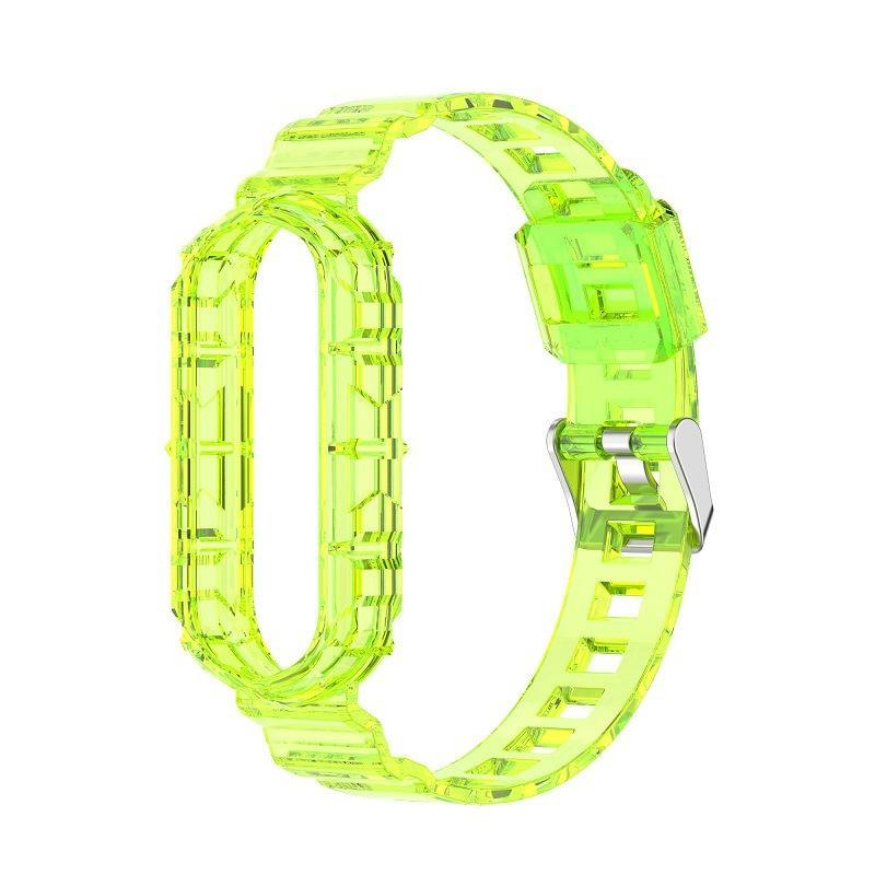 Remplacement TPU Clear Watch Bands Bandes et case pour Xiaomi Mi Band 6 Band5 100pcs / Lot