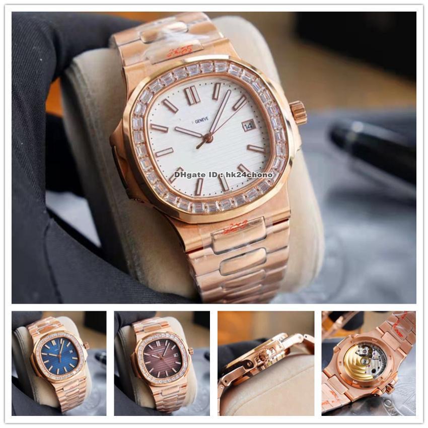 Relojes de lujo YR 5711 / 1A 40mm Nautilus Large Diamond Bezel Cal.324 Autoamtic Mens Watch 5173 Blue Brown Blanco Dial Blanco Pulsera de oro Gents Sports Gents Relojes de pulsera