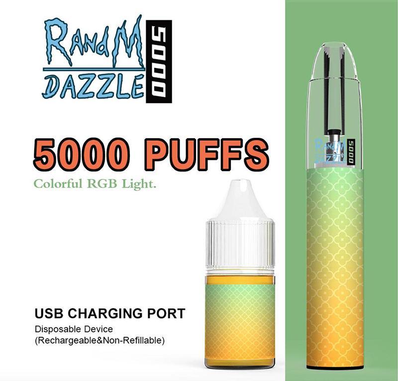 Otantik Tek Kullanımlık E Sigaralar Randm Dazzle 5000Puffs Pod Cihaz Kiti E-Sigara Şarj Edilebilir Pil Predded 10ml Kartuş Vape Kalem