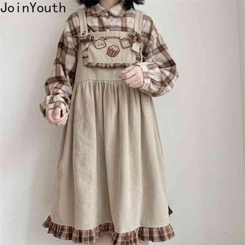Japonês Lolita Doce Vestidos Bonito Urso Corduroy Vestido Solto Ruffles Padrão Manta Manta Macacão Vestidos Feminino 7B609 210506