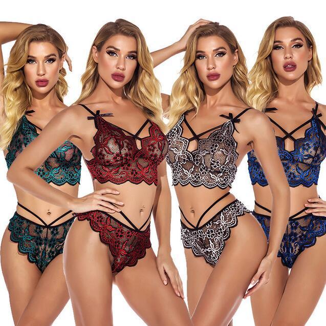 Disponibles 2pcs mujer sexy ropa interior Satin Lace Sleepwear Women Pijamas Lencería Nightdress Sets Lenceros F075