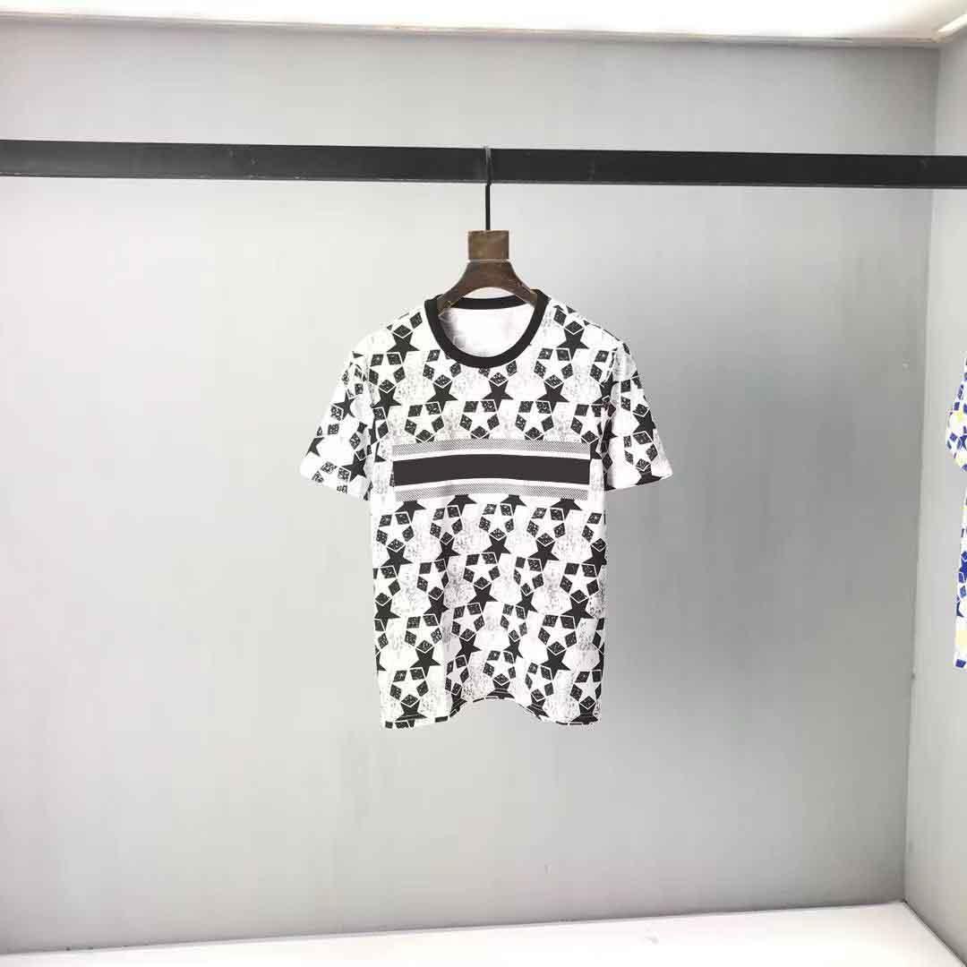 2021ss Spring and Summer Nouveau Coton de haute qualité Impression à manches courtes Panneau à col rond T-shirt Tableau: M-L-XL-XXL-XXXL Couleur: Noir Blanc 2S22212A12
