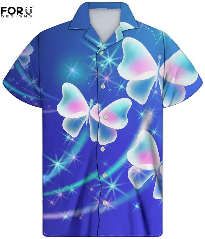 남성 캐주얼 짧은 소매 티셔츠 3D Buttflies 인쇄 남성 하와이 패션 열대 소년 여름 Blusas